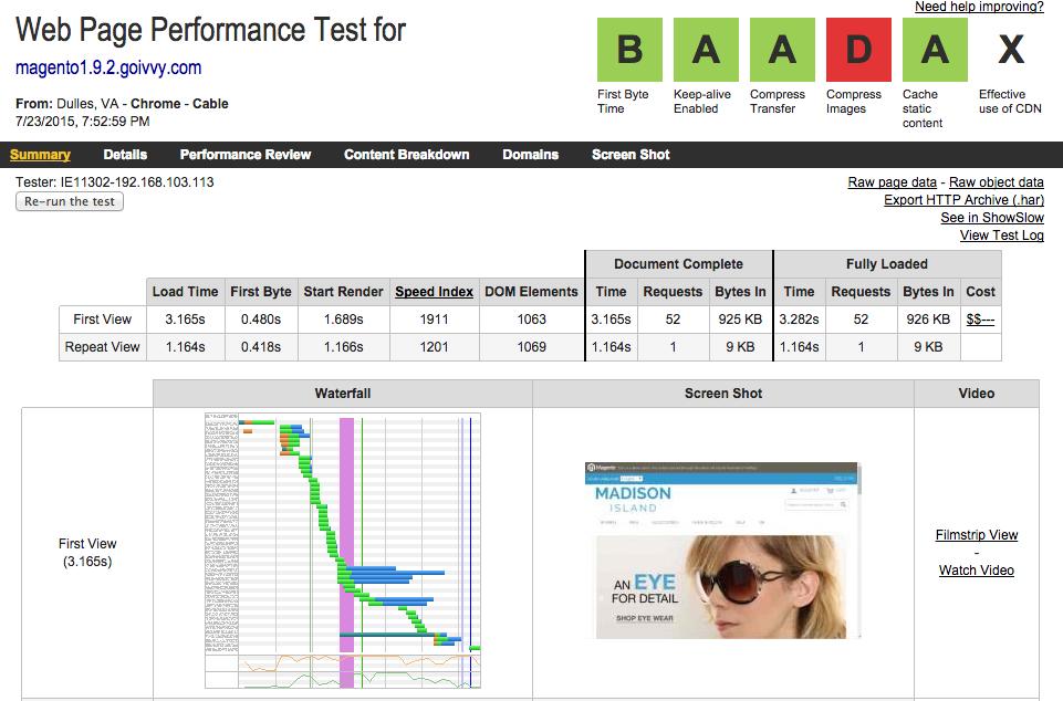 Magento 1.9.2 Homepage WebPageTest Result