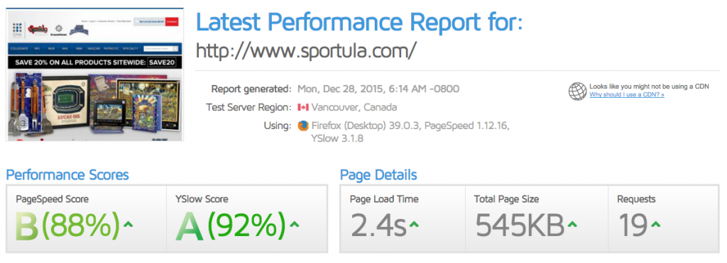 Magento Performance Tuning | Sportula.com Speed Score