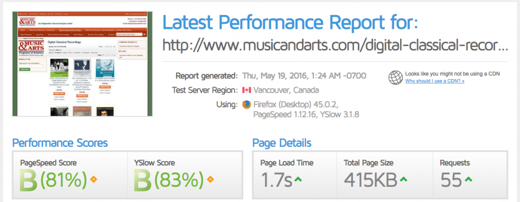Magento websites with the highest Google Page Speed Scores | www.musicandarts.com | Page Load Time | Goivvy.com
