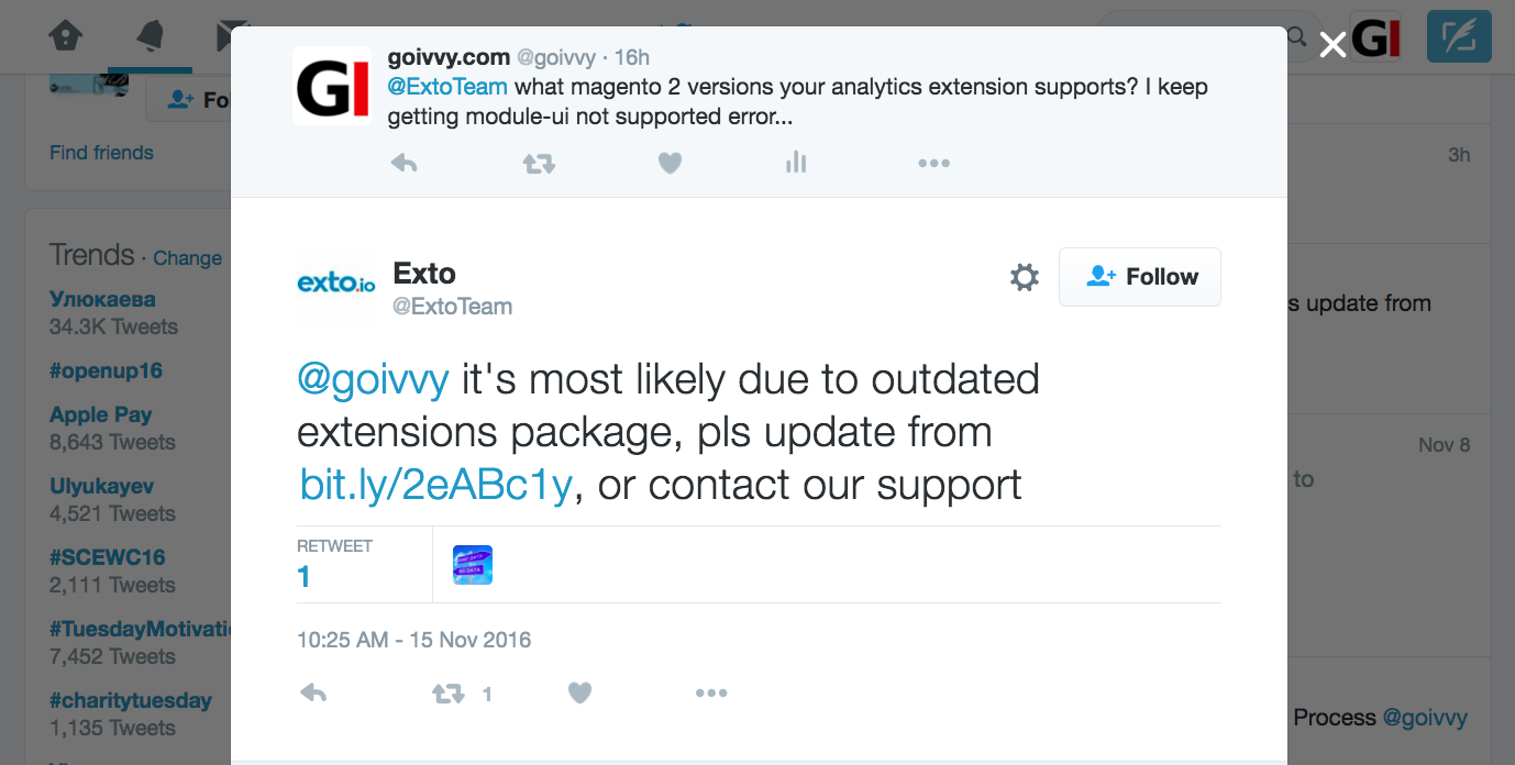 Exto Analytics module-ui conflict twitter conversation