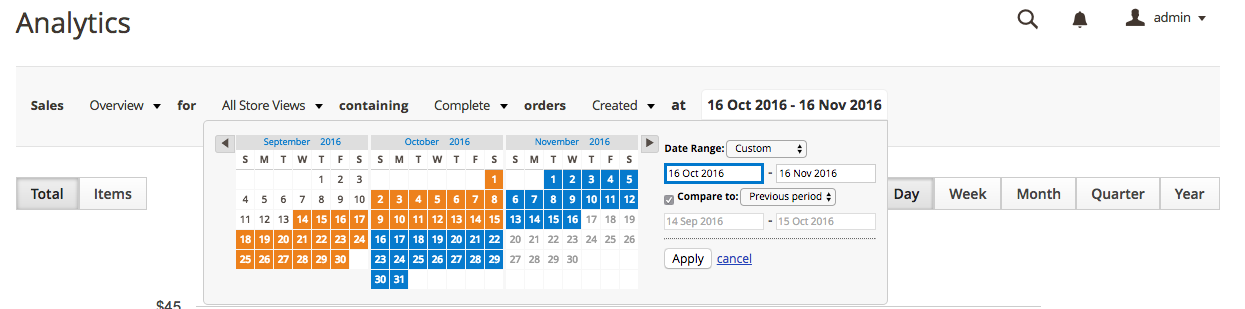Compare two date ranges with Exto Analytics magento 2 extension