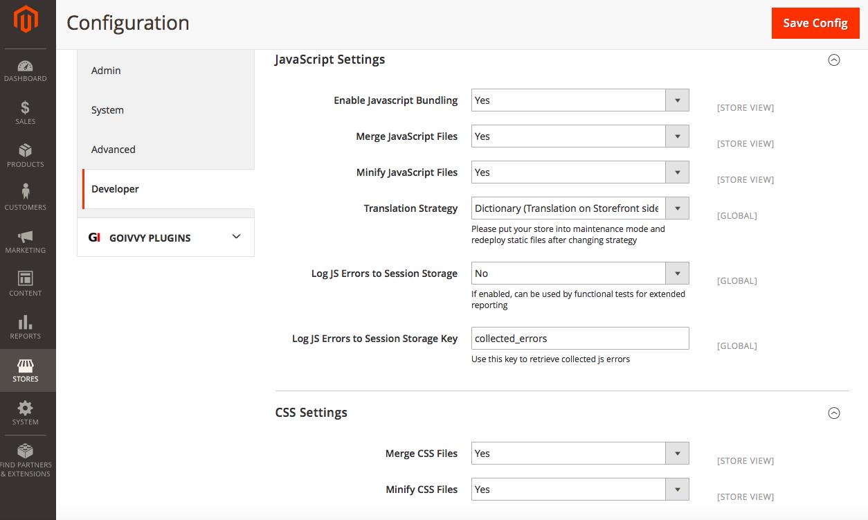 Magento 2 Minify CSS JS