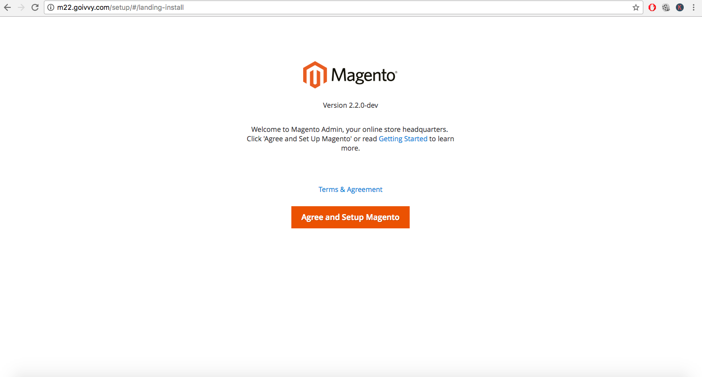 Magento 2.2 RC1 Overview - Setup Page