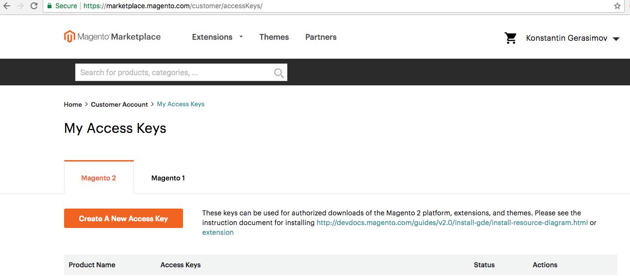 Magento marketplace public/private keys