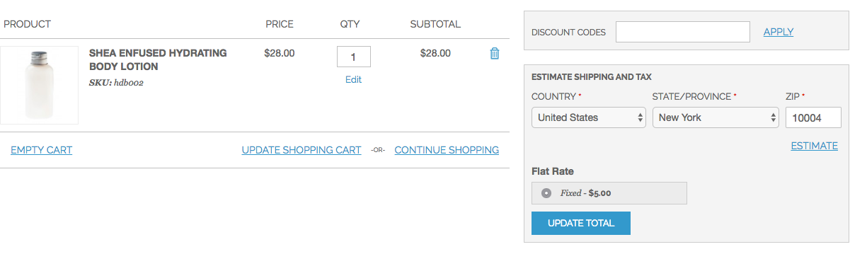 Estimate Shipping Cost Block on Cart Page