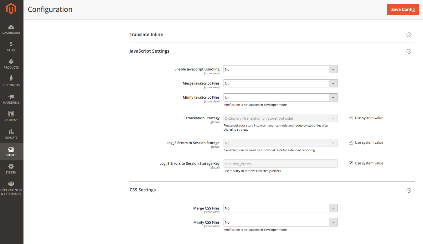 CSS and JS settings page