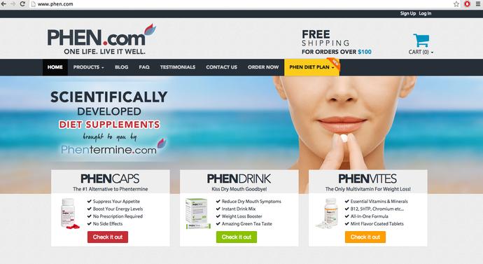 Phen.com homepage