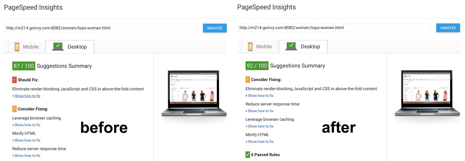 Google PageSpeed Desktop Defer JavaScript benchmark